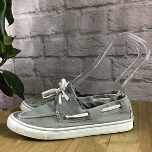 🍃 Sperry gray & white top slide canvas 8 sneakers